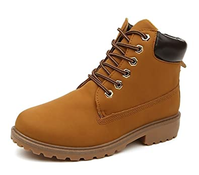 e8ba1d2632a4 Gaatpot Damen Herren Warm Gefütterte Stiefel Schnür Stiefeletten Worker  Boots Combat Boots Leder Winter Stiefel Schuhe  Amazon.de  Schuhe    Handtaschen