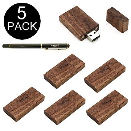 Yaxiny USB-Speicherstick aus Walnussholz, rechteckige Form, USB 2.0/3.0, 5er-Pack Wood USB Disk-4 2.0/16GB