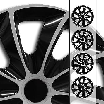 Eight Tec Handelsagentur Farbe Größe Wählbar 16 Zoll Radkappen Radzierblenden Quad Bicolor Schwarz Silber Passend Für Fast Alle Fahrzeugtypen Universal Auto