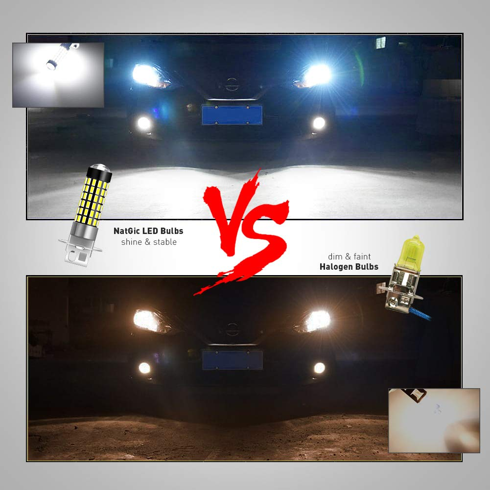 Daytime Running Lights Automotive Driving Lamps 12-24V Xenon White NATGIC H11 H8 H9 LED Bulbs 1800LM 6500K 3014SMD 78-EX Chipsets with Lens Projector for Fog Lights Pack of 2