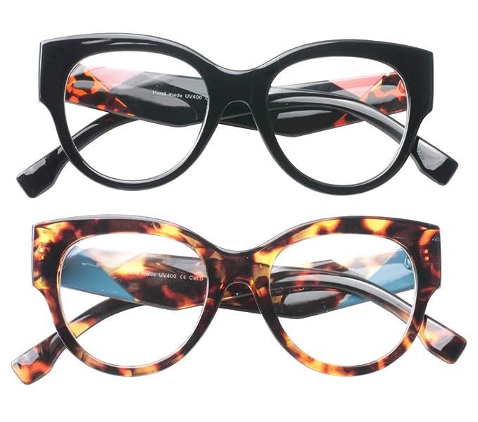 180667e4e1f8 SOOLALA Ladies Modern Fashion Prescription Eyeglass Frame Cat Eye Reading  Glass, BkLeo, ClearLens