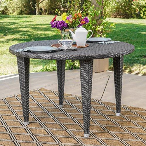 Dúnedain Outdoor Round Wicker Dining Table (Grey)