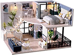 Fsolis DIY Dollhouse Miniature Kit with Furniture, 3D Wooden Miniature House with Dust Cover, Miniature Dolls House kit (L32)