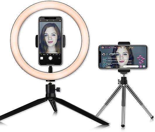 Todo para el streamer: Anillo de Luz LED, DC5V 7W Ring Light Regulable para Fotografía Aro de Luz con 2 Trípode y Soporte para Teléfono para Maquillaje, Selfie, Youtube, Transmisión en Vivo Grabación de vídeo Vlog