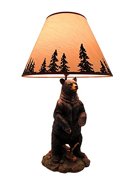 Superbe Resin Table Lamps Standing Grizzly Bear Table Lamp W/Silhouette Shade 8 X  24 X