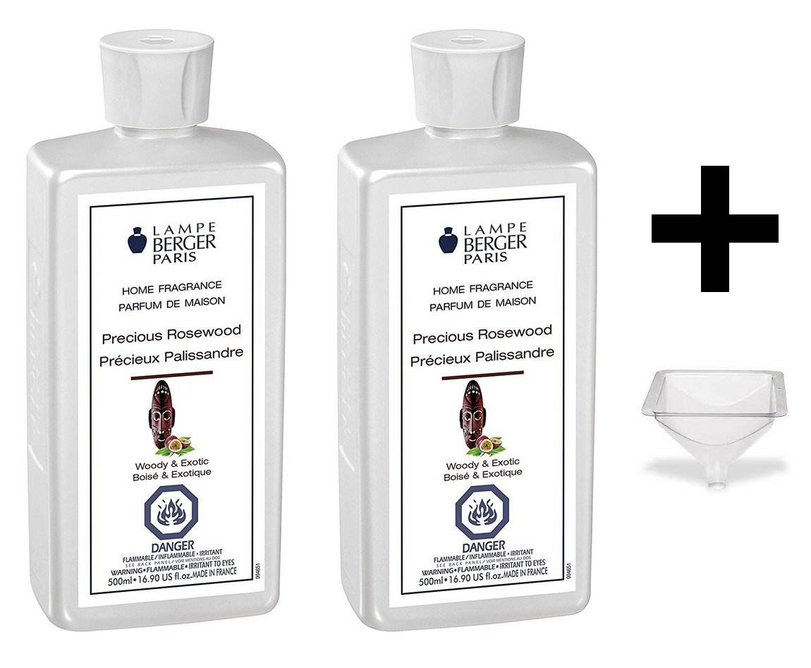 Lampe Berger Fragrance - Precious Rosewood - 500ml/16.9 fl.oz. 2 Pack with FREE Funnel by Lampe Berger
