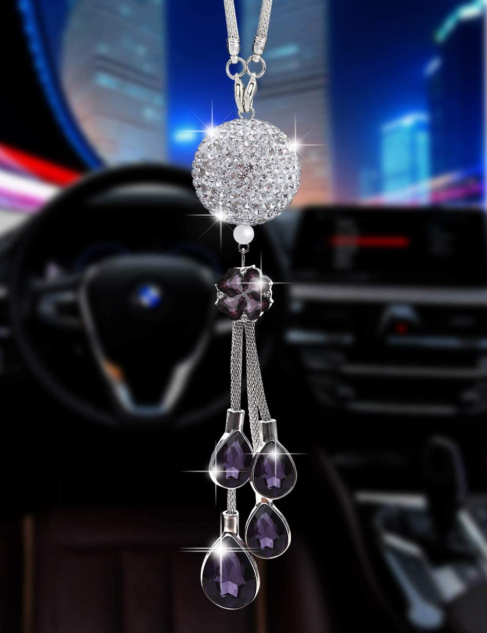 Bling Car Accessories for Women and Man,Cute Car Decor for Women ,Lucky Crystal Sun Catcher Ornament,Rear View Mirror Crystal Ball Charm Decor (30 mm Clear)(Purple)