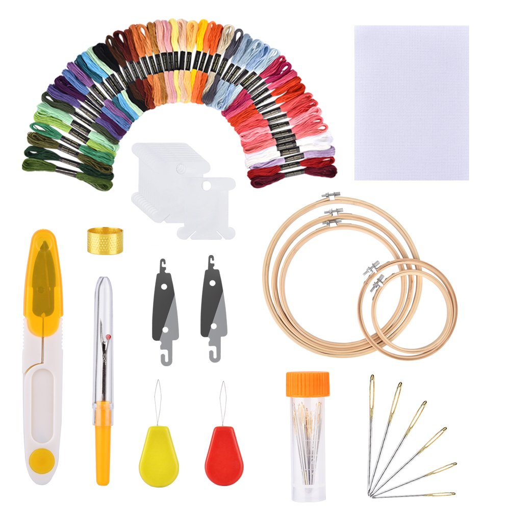 AFDEAL 50 Colors Embroidery Floss Set Friendship Bracelet String Embroidery Starter Kit Cross Stitch Thread with Organization Box