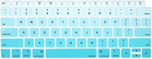 MOSISO Keyboard Cover Compatible with MacBook Air 13 inch 2019 2018 Release A1932 Retina Display with Touch ID, Waterproof Dust-Proof Protective Pattern Silicone Skin, Gradient Blue