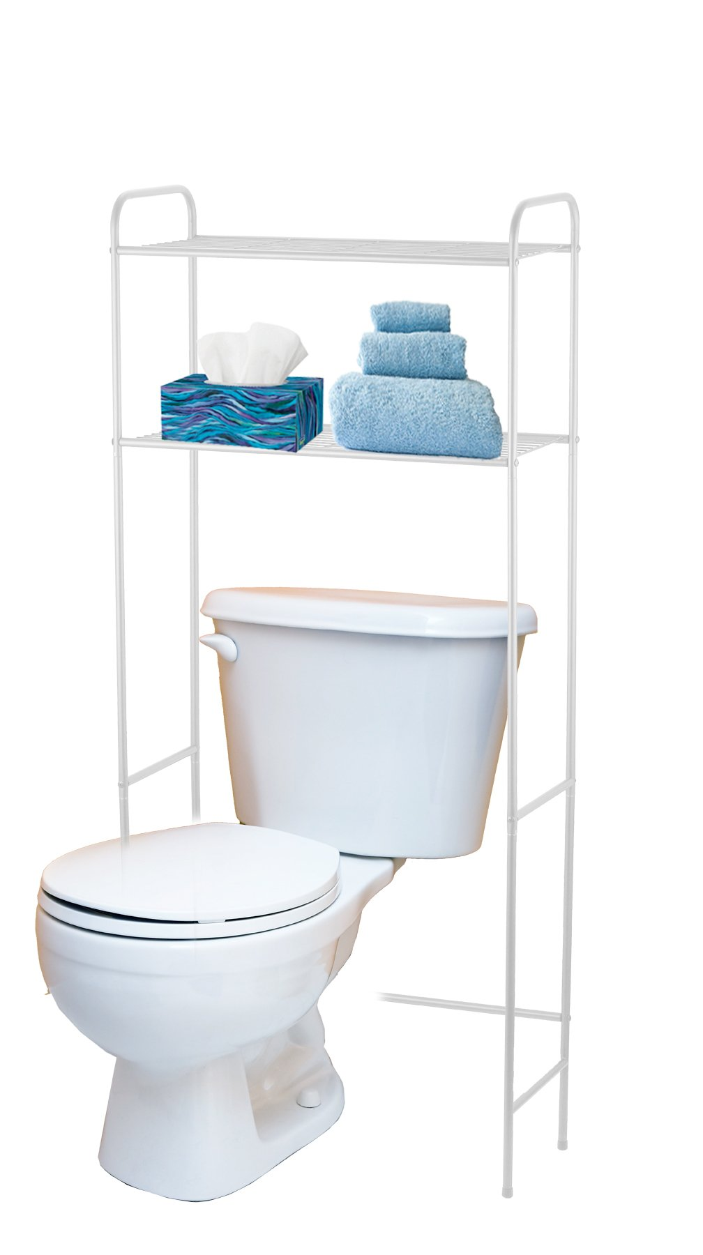 Home Basics 2 Tier Over The Toilet Bathroom Space Saver, Metal Bathroom Shelf Storage Unit, Anti-rust, White