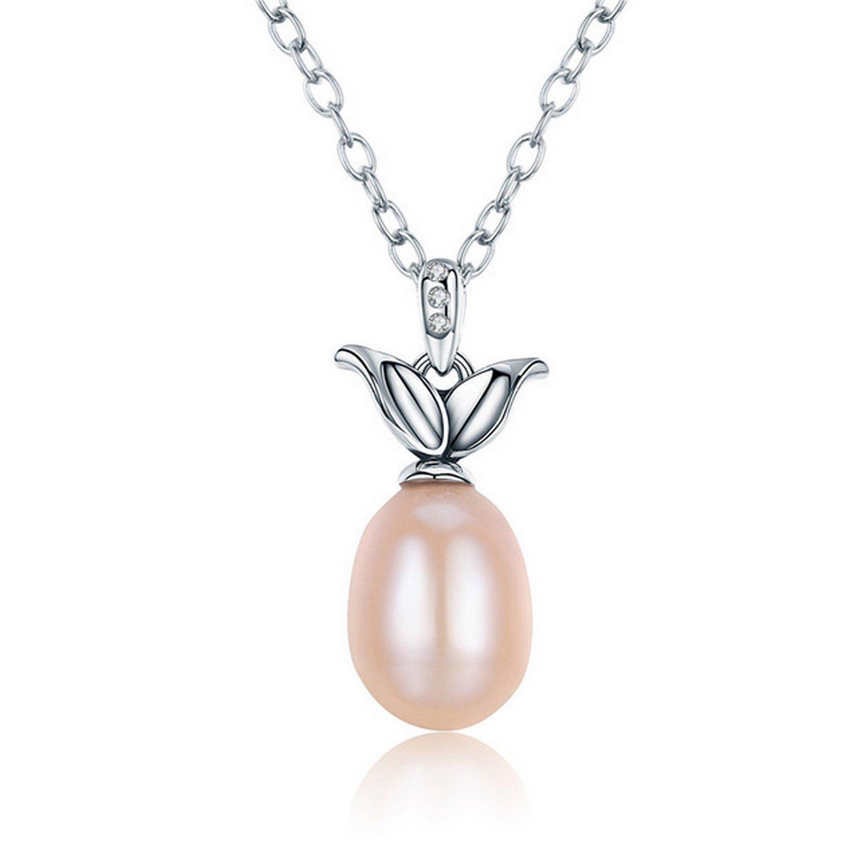 MMC Oval Beige Pearl Wedding Jewelry Silver Pendants Necklaces