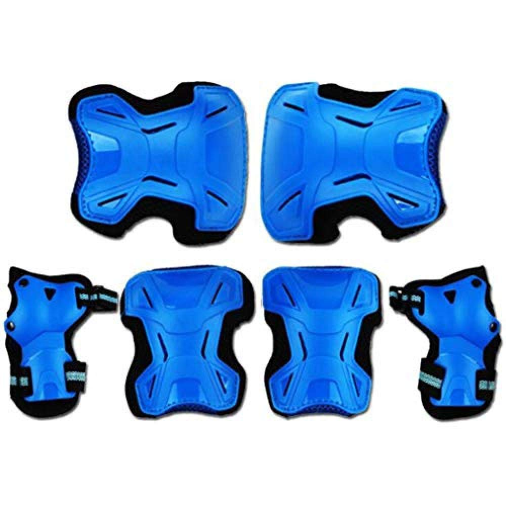 YouNB Protective Gear Sets Elbow Wrist Support Pad Adjustable Elbow Wrist Knee Pads@Blue_S