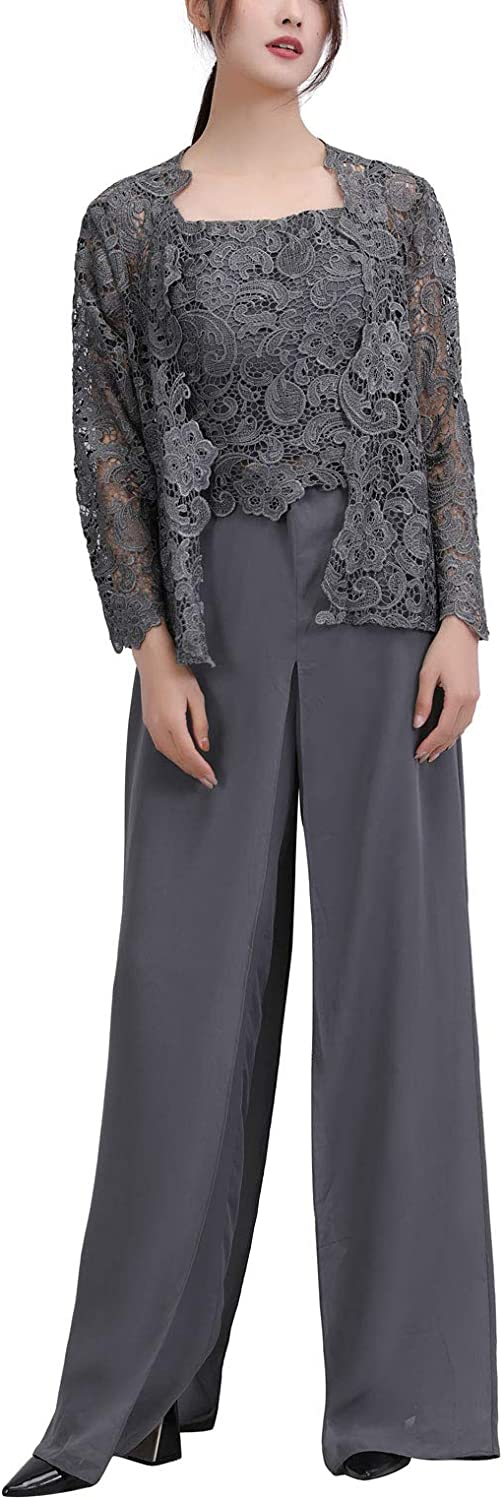 Womens 3 Pieces Chiffon Dress Mother of The Bride Pants Suits with Lace Jacket Wedding Outfit Evening Gown