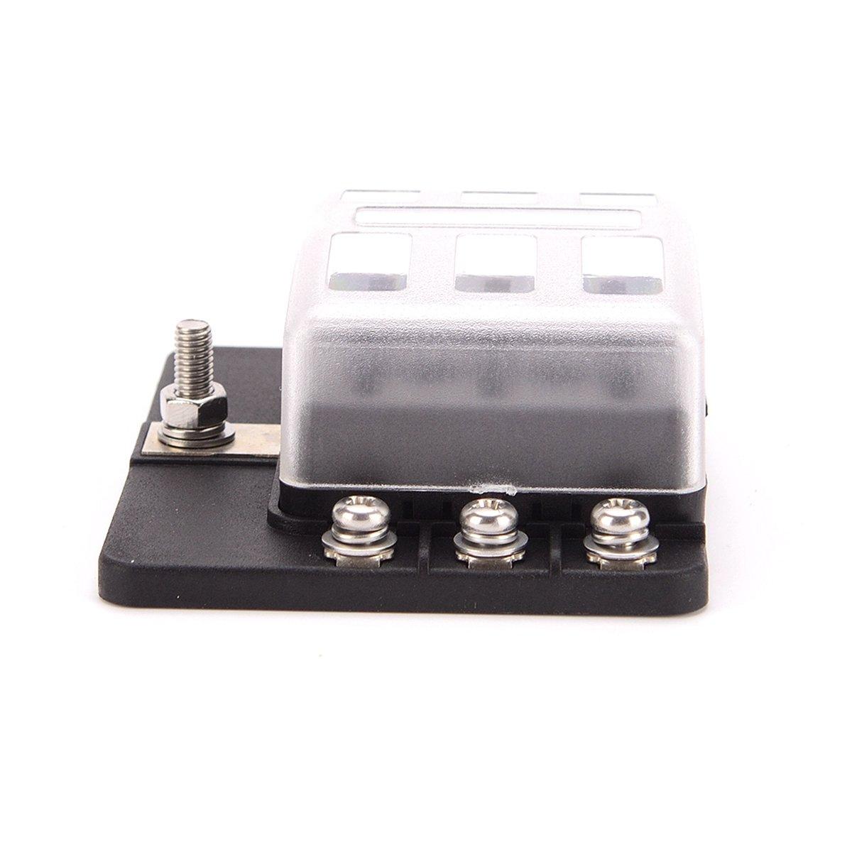 Iztoss 12 Circuit LED Fuse Block Blade Fuse Box with screw terminal block single plastic bag for Car Boat Marine Trike