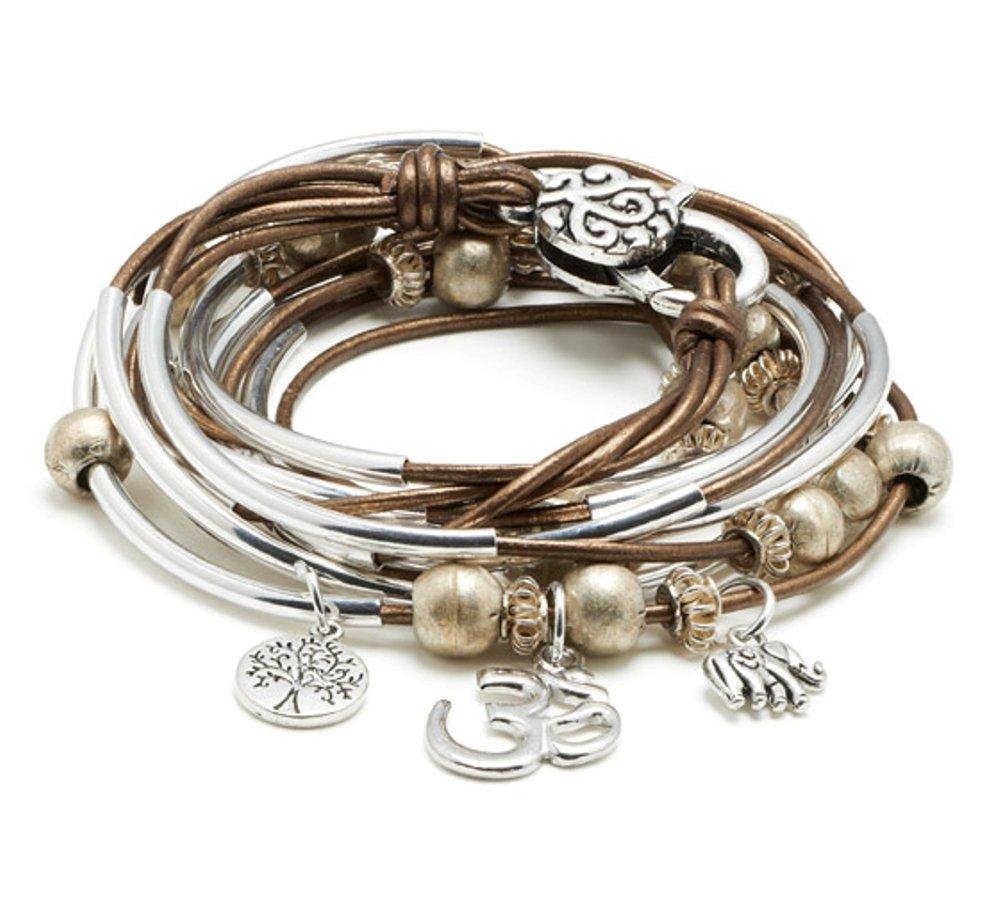 Boho Silverplated 4 Strand Metallic Bronze Leather Wrap Bracelet with Om Charm Trio (Large)