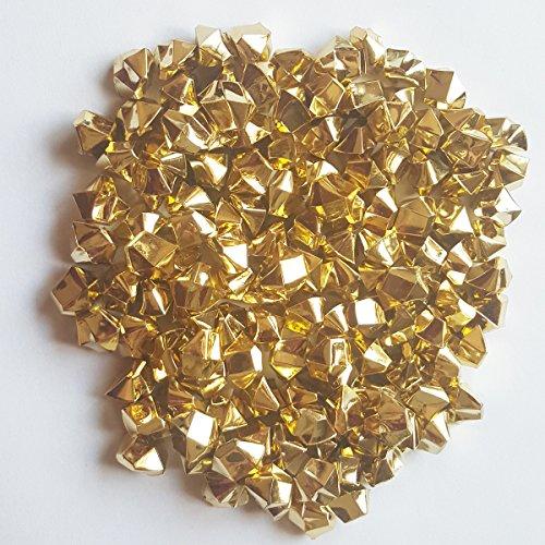 Gold Vases (ElE&GANT 1LB(Approx 755Pcs)Plastic Metallic Gold Nuggets For Table Scatter Decoration or Vase Filler (Metallic Golden))