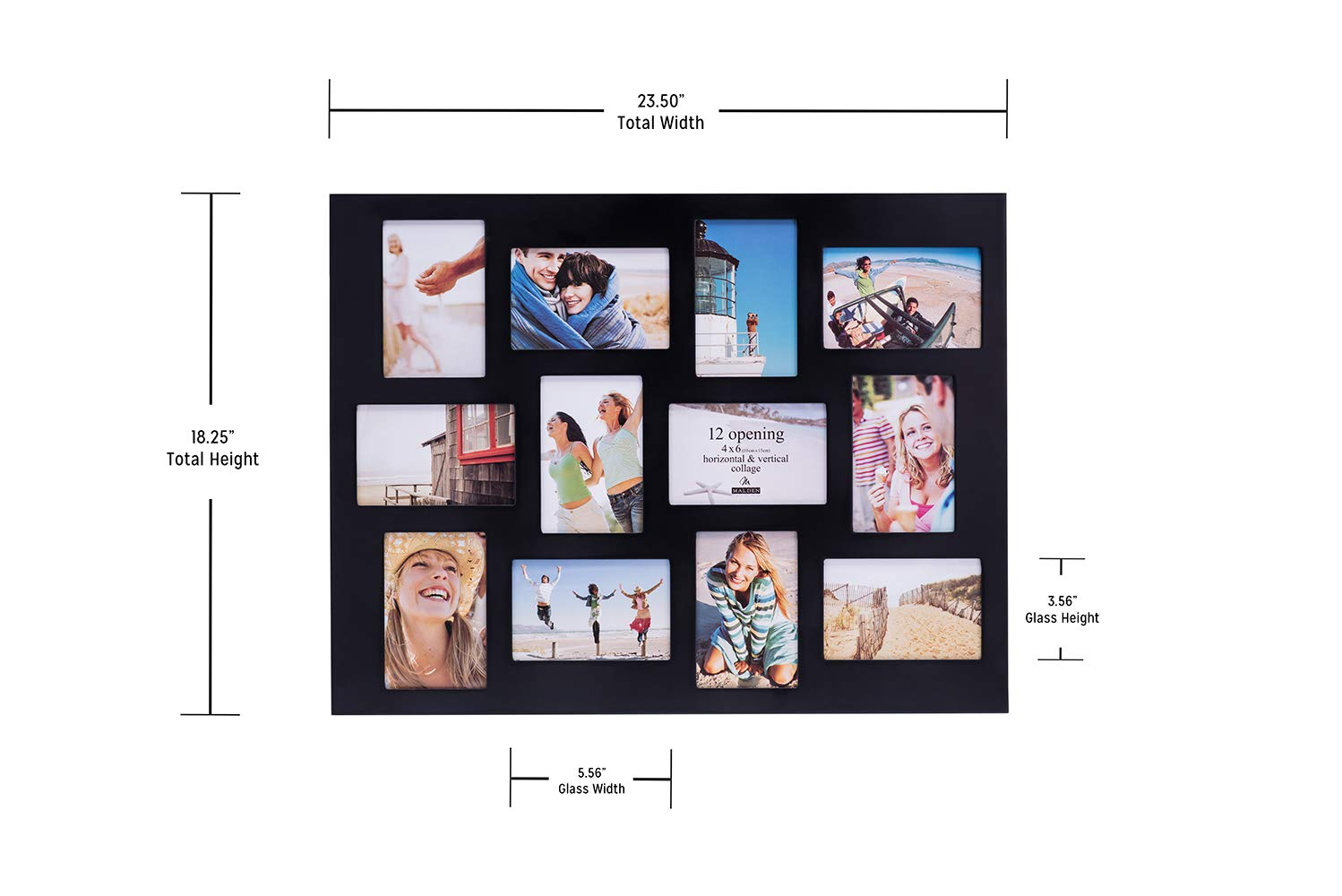 Malden 4x6 12-Opening Collage Picture Frame - Displays Twelve 4x6 Pictures - Black by Malden (Image #5)