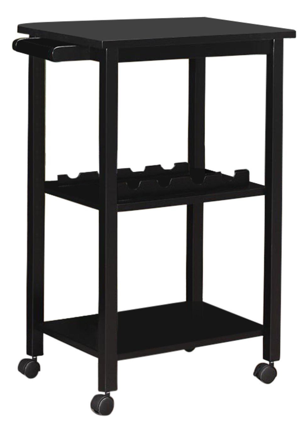 Kings Brand Furniture Wood Kitchen Storage Serving Cart W Wine Rack Black
