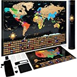Scratch Off World Map Poster + Deluxe United States Map -Includes Complete Accessories Set & All Country Flags - Premium Wall Art Gift for The Loved Ones - Bonus USA Traveler's eBook