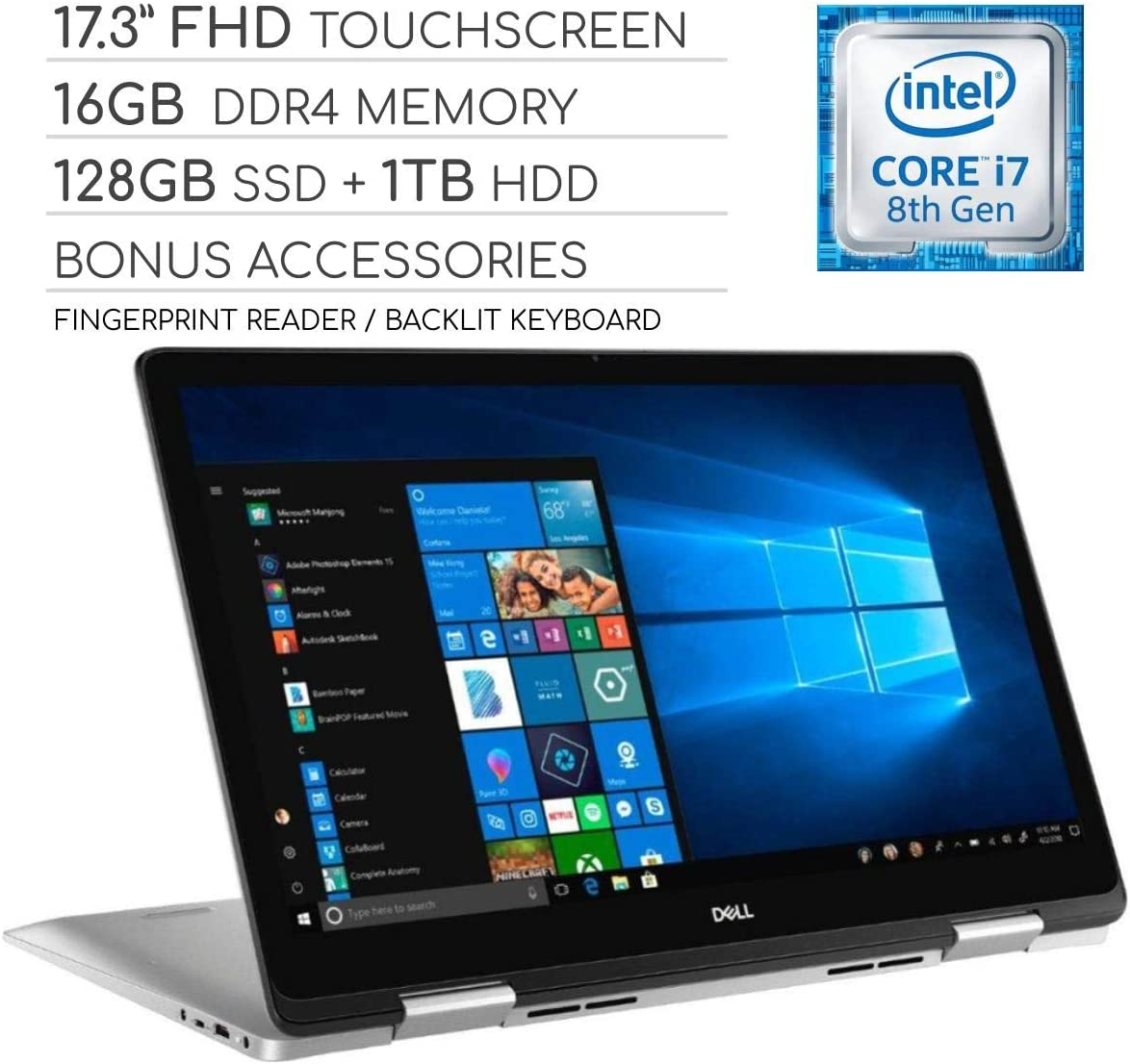 "Dell Inspiron 17 7000 Series 2019 2-in-1 17.3"" FHD Touchscreen Laptop, 4-Core Intel Core i7-8565U 1.8GHz, 16GB RAM, 128GB SSD + 1TB HDD, Backlit Keyboard, Wi-Fi, Bluetooth, Webcam, HDMI, Windows 10"