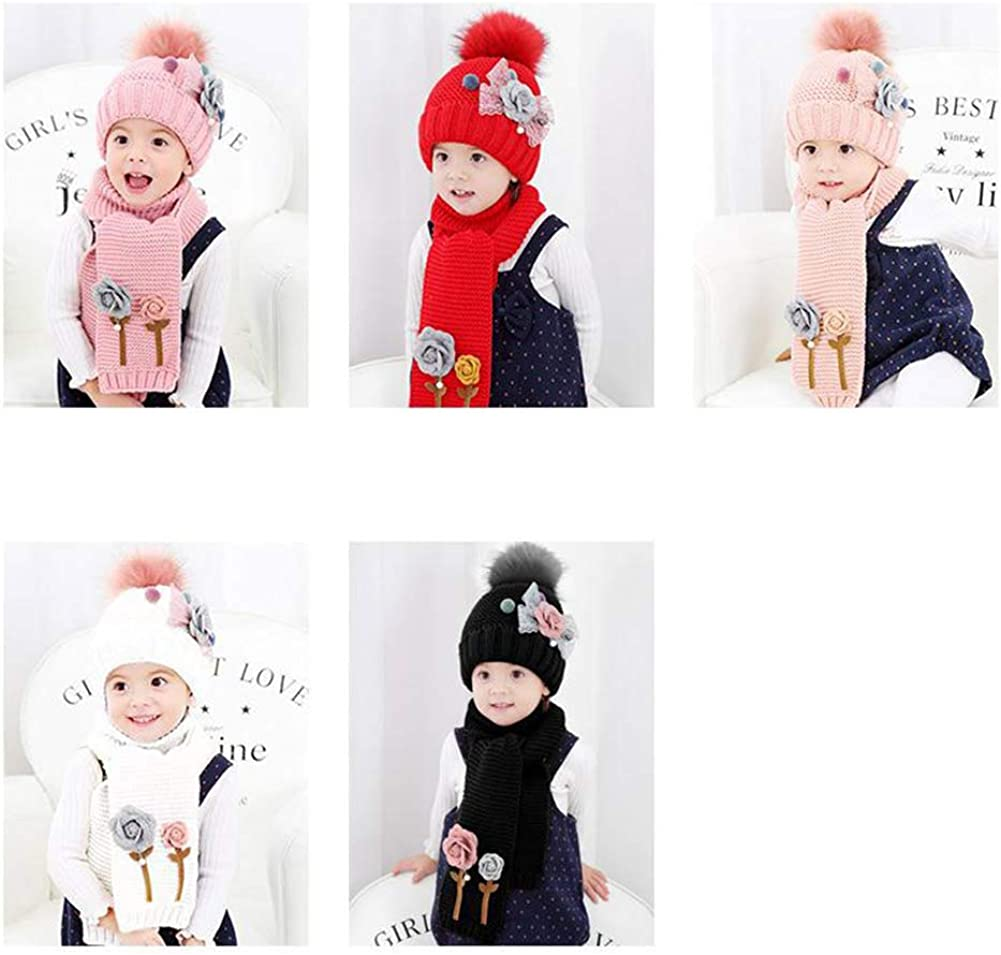 Flower Hailball Beanies Sets Velvet Wool Knit Fur Hats Winter 2PCS Scarf Hat Set Baby Girls 4-12T