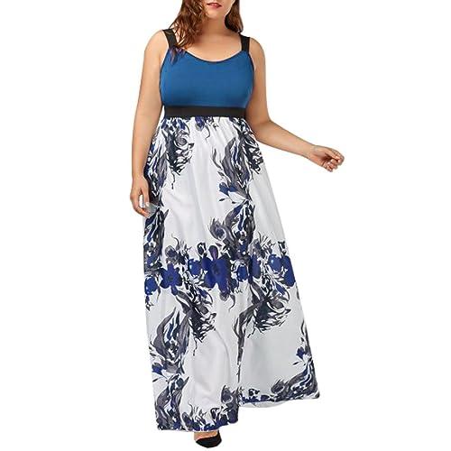 165e8f1cb3b3 übergröße Kleider Kolylong Damen Elegant Blumen Ärmellose Kleid Lang Retro  Schulterfrei Böhmen Kleid Drucken Rückenfrei Maxikleid