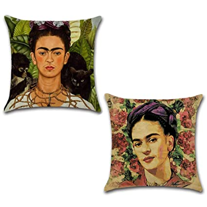 Frida Kahlo Cotton Linen Throw Pillow Case Throw Cushion Cover Car Home Decors