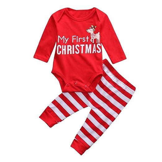 4dbaf346a63 SMTSMT 2Pcs Christmas Newborn Baby Girls Boys Outfits Clothes Deer Romper  Pants Set (0-