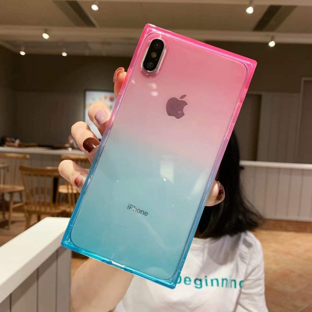 iPhone Xs Max Square Case,Tzomsze Clear Case Cute Gradient Slim Silicone Transparent Reinforced Corners TPU Cushion Cover Case for iPhone Xmax [6.5 inch]-Pink Green