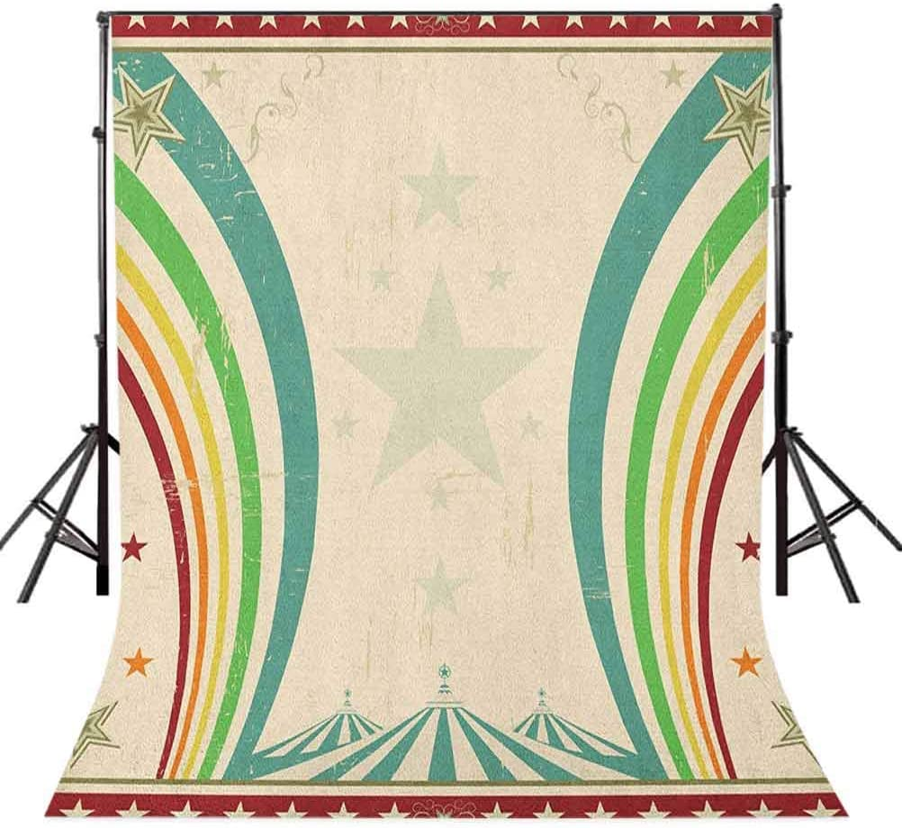 7x10 FT Vintage Rainbow Vinyl Photography Backdrop,Old School Circus Tents Design with Stars and Curved Lines Advertisement Background for Party Home Decor Outdoorsy Theme Shoot Props