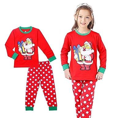 3d3f23bdd2 New Santa Claus Kids Pajamas Sets Tops+Pants Boys Girls Nightwear Family Christmas  Pjs 2