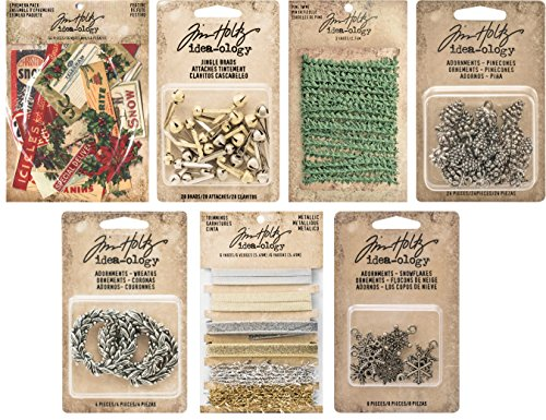 Tim Holtz Idea-ology Holiday 2016 - Christmas Ephemera, Pinecones Adornments, Metal Wreaths, Snowflake Adornments, Jingle Brads, Pine Twine & Metallic Trimmings (Tinsel Twine)