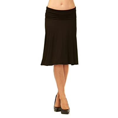 Red Hanger Womens Basic Solid Stretch Fold-Over Flare Midi Skirt at Women's Clothing store