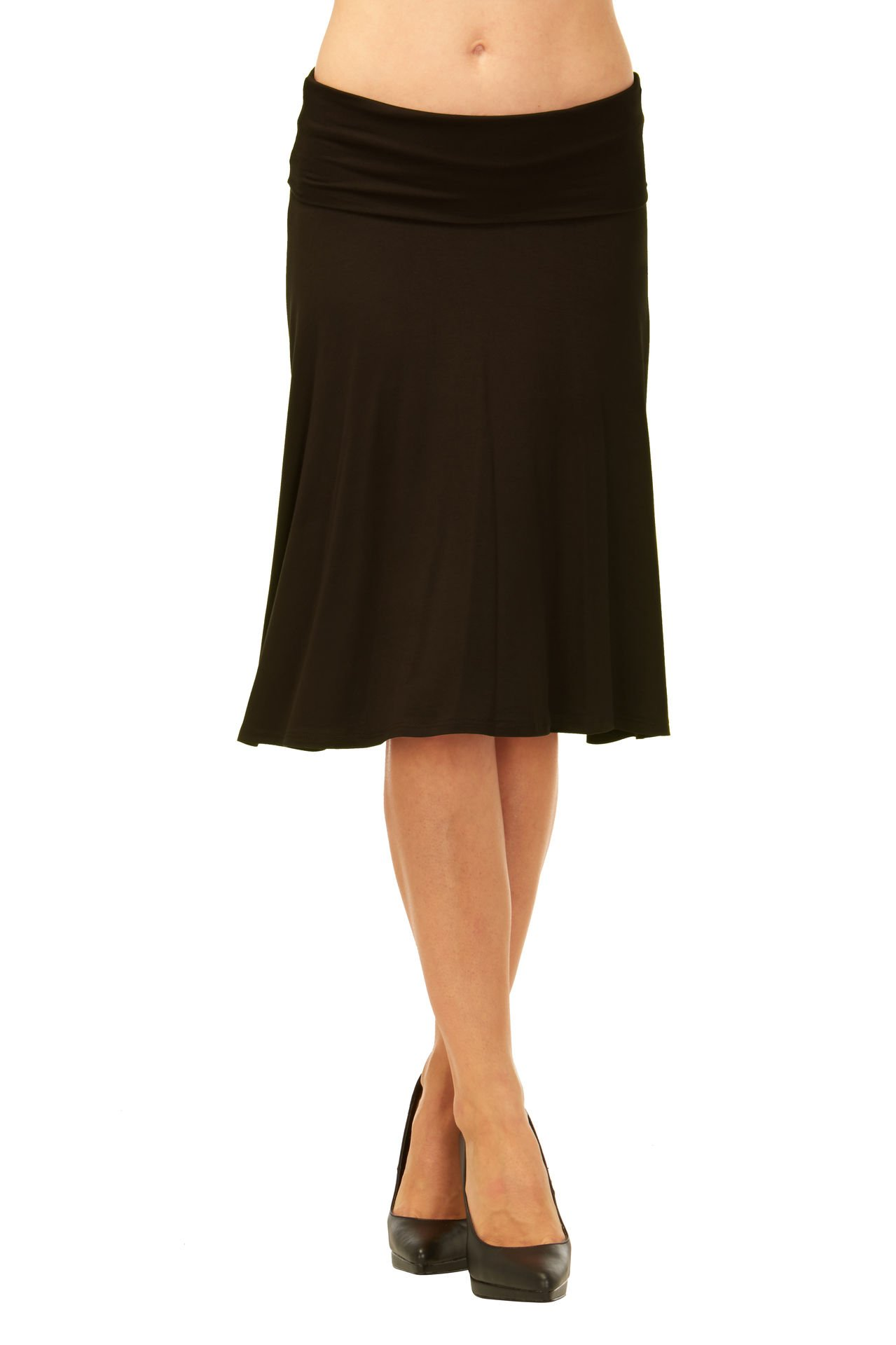 Red Hanger Womens Basic Solid Stretch Fold-Over Flare Midi Skirt (Black-L) by Red Hanger