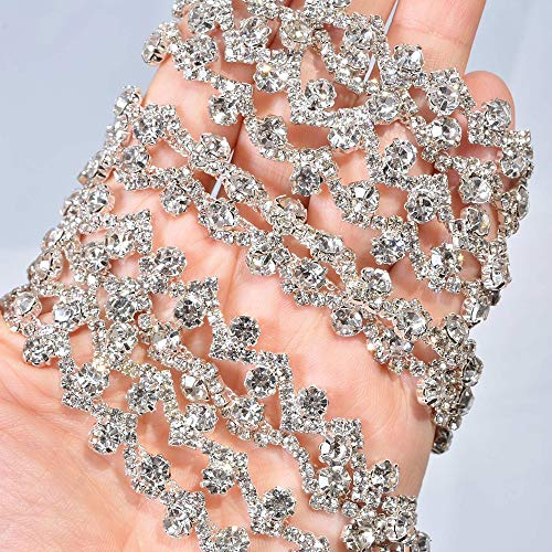 Stone Bling - 1 Yard Thin Rhinestone Crystal Sash Appliques Clear and Bling Stone Trims Addition for Wedding Dress Strap Prom Sashes Bridal Garter