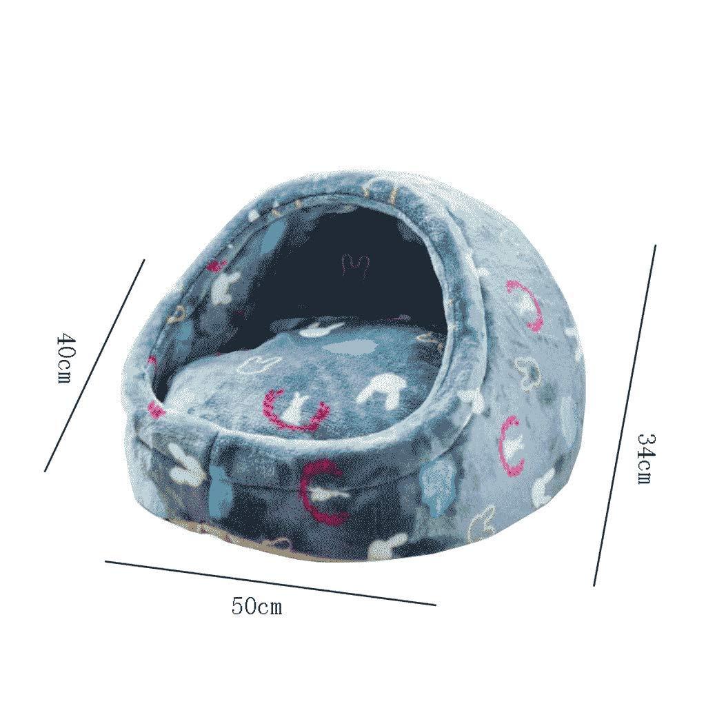 Nido de mascotas Cat Litter Winter Warm Kennel Perros pequeños y medianos Four Seasons Universal Cat Dog Bed Teddy Pet Supplies Casa Villa WHLONG (Tamaño ...