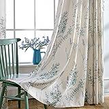 Blue Teal Flower Linen Curtains – KoTing 1 Panel Natural Linen Teal Sage Curtains Drapes Grommet 63 inch Long For Sale