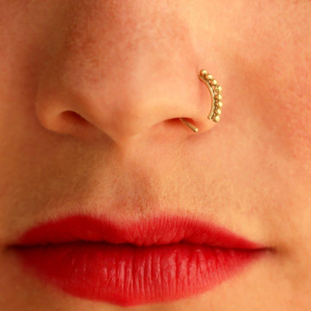 Amazon Com Gold Nose Ring 14k Nose Piercing Nose Hoop Nostril