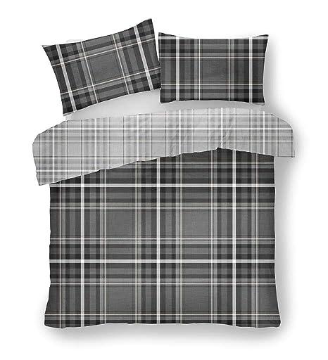 Luxury Newton Tartan Check Duvet Quilt Cover Bedding Bed Set Charcoal Grey Black