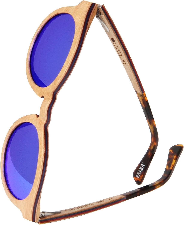 WOLA estilo de redonda gafas de sol en madera BAUM mujer y hombre madera, sunglasses UV400 - polarisado