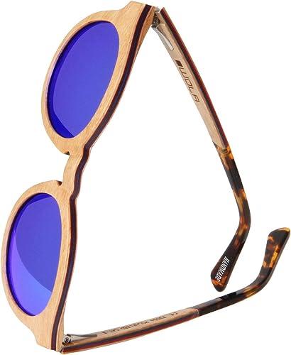 TALLA Mujeres L , Hombres M. WOLA gafas de sol madera - SELVA lentes mujer, gafas de sol polarizadas en skateboard wood, gafas redondas UV400