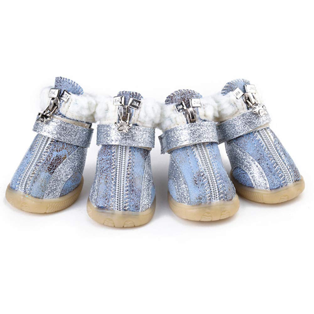 bluee 2 bluee 2 Thick Fur Winter Dog shoes Anti-Slip Pet shoes for Small Dogs Warm Snow Boots Teddy Poodle