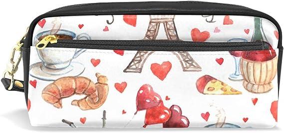 Estuche para estudiantes, diseño de Torre Eiffel de París, corazón de amor, té, vino, PU: Amazon.es: Oficina y papelería