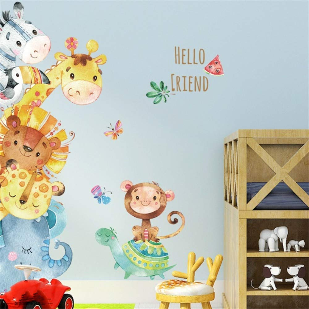 Amazon.com: Bdhnmx Cartoon Animals Wall Sticker for Kids Room Wall Background Decals Lion Panda Bear Mural PVC DIY Poster Child Bedroom: Baby