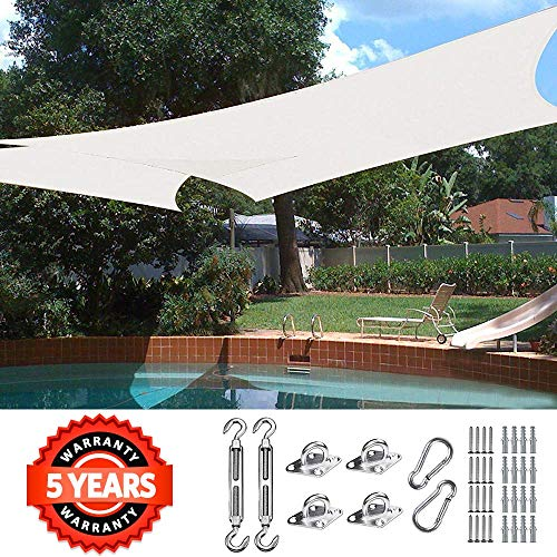 Quictent 185G HDPE 20X16FT Rectangle Sun Shade Sail Canopy 98 UV Block Outdoor Patio Garden with Free Hardware Kit Ivory