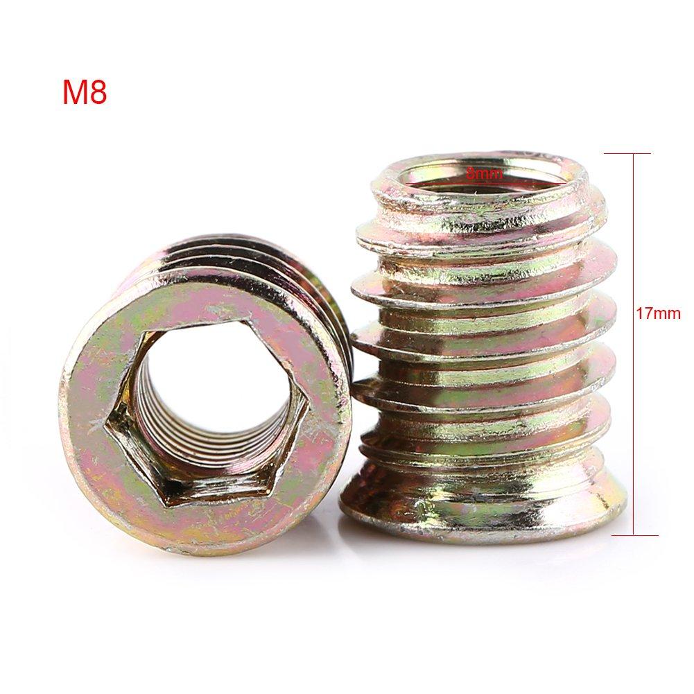 M6*10mm Packung Mit 20 St/ück M6//M8//M10 Zinklegierung M/öbel Hex Antrieb Nuss Gewindeeinsatz Holzeinsatz Muttern Sortiment