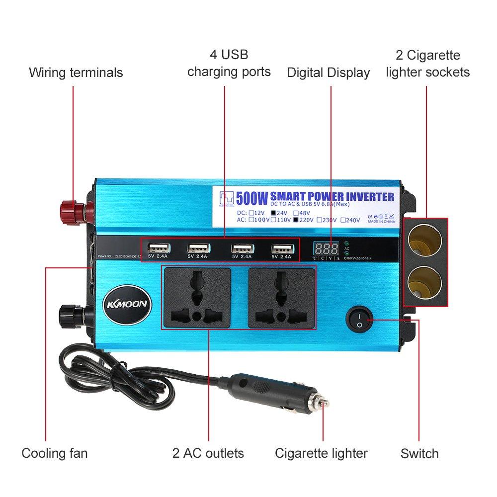 KKmoon Auto Power Inverter DC 24V to AC 220V Inverter 500W Car Power ...