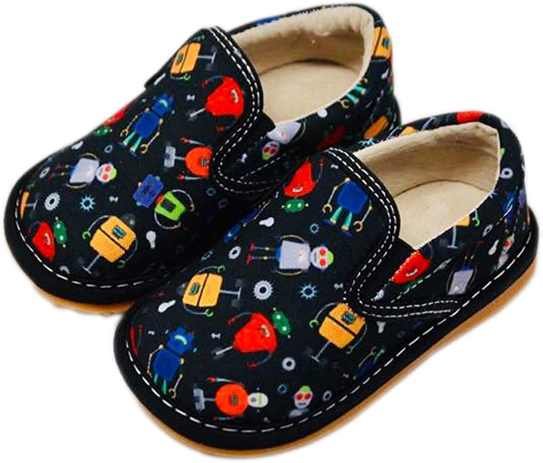 Squeaker Sneakers Rhett Robot Slip On, Squeaky Shoes for Toddlers with Removable Squeaker