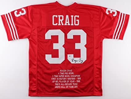 ba8cbeb9c Image Unavailable. Image not available for. Color  Roger Craig  33 Signed  San Francisco 49ers Career Highlight Stat Jersey (Beckett COA)