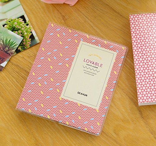 [Fujifilm Instax Mini Photo Album] DEAHUN Lovable Photo Album For Fujifilm Instax Mini 7s 8 25 50s 70 90/ Polaroid Z2300/ Polaroid PIC-300P/ Polaroid Snap Films & Name Cards (Red/Block Diagram) (Mini Two Album Wedding)